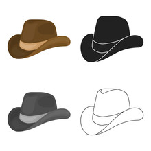 Cowboy Hat Icon In Cartoon Sty...