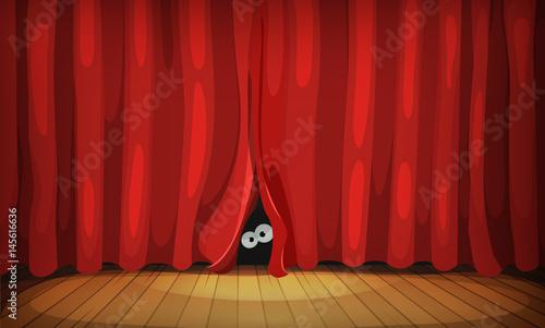 Plakat Oczy za czerwonymi zasłonami na etapie drewna