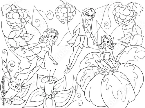 Fototapety, obrazy: Fairy-tale world of fairies coloring book for children cartoon vector illustration