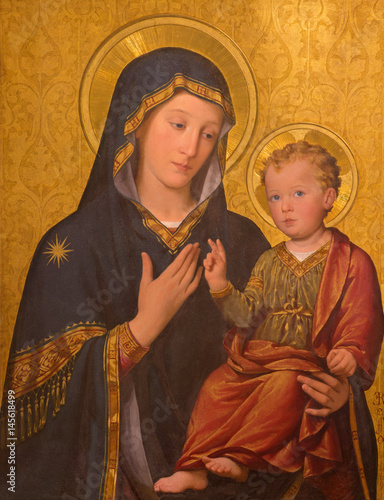 Fotografie, Obraz TURIN, ITALY - MARCH 13, 2017: The painting of Madonna with the Child in church Chiesa di San Giuseppe by Enrico Reffo (1909)