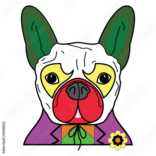 Comic Villain symbol in  colorful joker costume with as a French bulldog charact Canvas Print