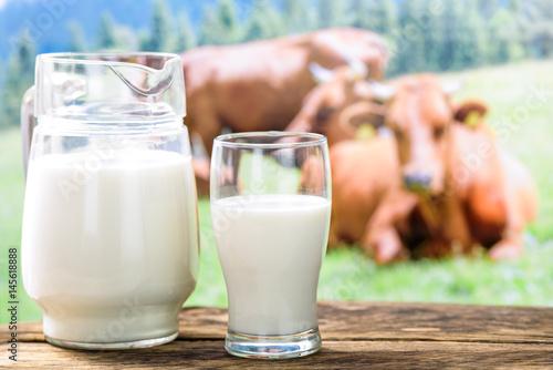 Plakat Krowy i mleko w szkle