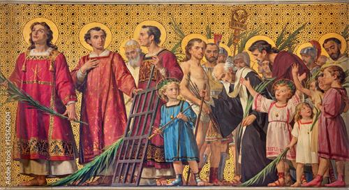 Fotografija  TURIN, ITALY - MARCH 15, 2017: The symbolic fresco of holy amartyrs with the in church Chiesa di San Dalmazzo by Enrico Reffo (1831-1917)