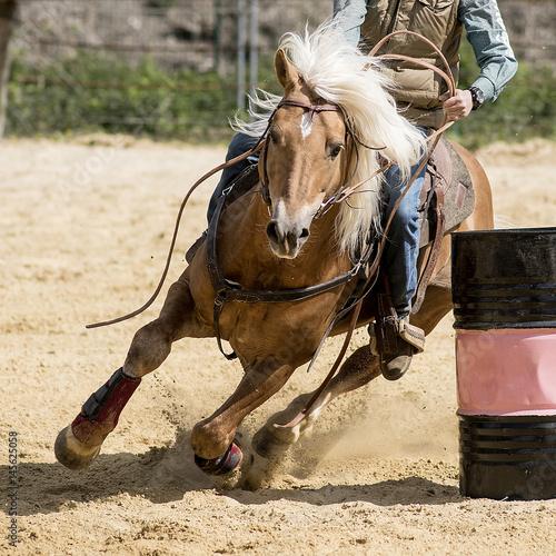 équitation western, épreuve de barrel racing