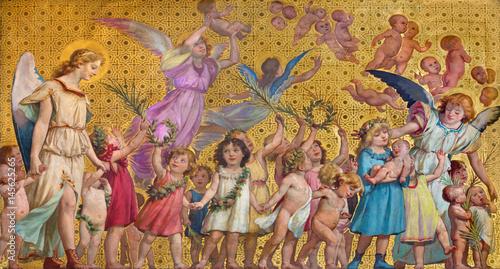 Obraz TURIN, ITALY - MARCH 15, 2017: The symbolic fresco of holy innocents children with the angels in church Chiesa di San Dalmazzo by Enrico Reffo (1831-1917). - fototapety do salonu