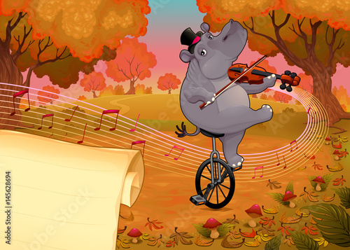 Poster kids room Violinst hippo and paper to give the best wishes