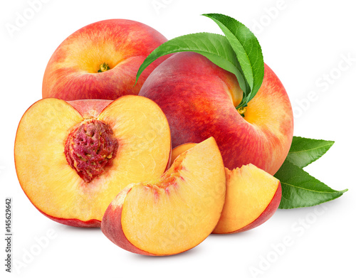 peach fruits isolated Wall mural