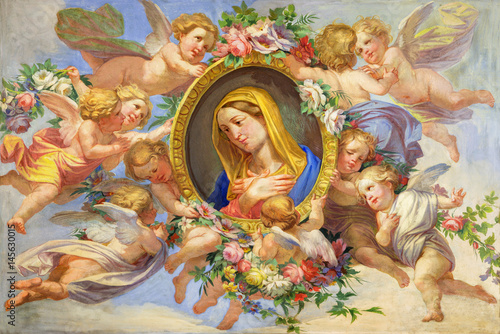 TURIN, ITALY - MARCH 13, 2017: The fresco of Virgin Mary among the angels in Cattedrale di San Giovanni Battista and chapel of St Canvas-taulu