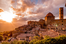 Panorama Of The City Of Volterra At Sunset