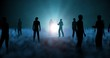 People, spirits , human beings standing, idle, loitering, lingering in blue spectral fog , mist with bright glowing orb at center. Camera orbits entire scene. 3d render, animation