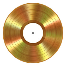 Realistic Gold Vinyl Record On...