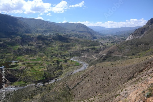 Fotografie, Obraz  Scenic view of sprawling terraces of the colca canyon farm land from high on the mountains