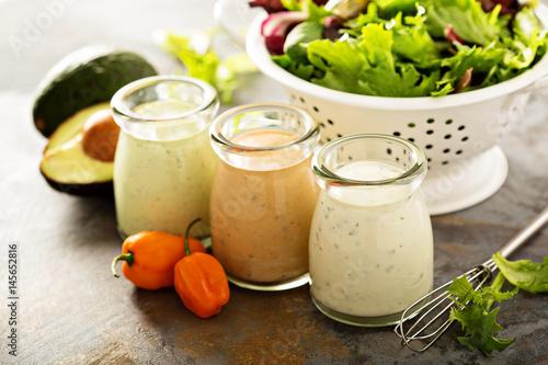 Homemade ranch dressing variety in small jars Wallpaper Mural