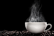 Steaming Coffee Cup Put On Cof...