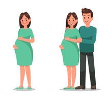 Pregnant Woman Character Vecto...