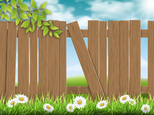 Wooden Fence With Broken Plank On Rural Landscape Background And A Branch Of A Tree On The Foreground.. Vector Detailed Illustration.