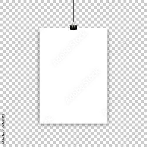 Εκτύπωση καμβά White paper sheet or poster hanging on isolated background