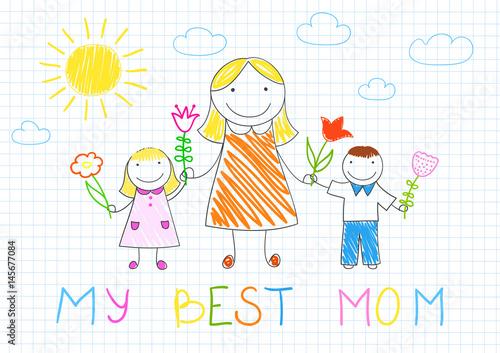 Staande foto Hoogte schaal Happy family - mother, her son and daughter