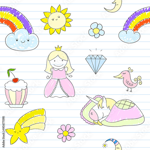 Cotton fabric Seamless background with happy princess