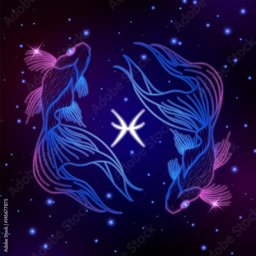 Fényképezés Pisces zodiac sign, horoscope symbol, vector illustration