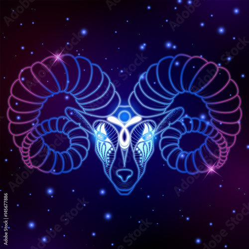 Aries zodiac sign, horoscope symbol, vector illustration Wallpaper Mural