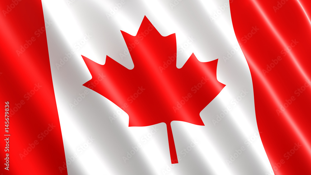 Fototapety, obrazy: Canadian flag waving in the wind. 3D illustration, close-up