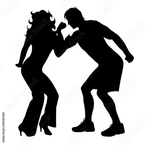 Deurstickers Dance School Vector silhouette of couple on white background.