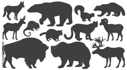 Fotografie, Tablou Set of silhouettes animals of North America.