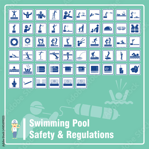 Set of Signs and Symbols of Swimming Pool Safety Rules and ...