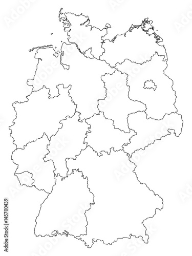 Outline Map Of Germany.Germany Outline Map With Federal States Isolated On White Background