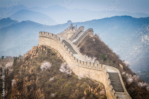 Montage in der Fensternische Chinesische Mauer China, Great Wall of China