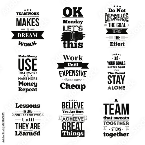 Fotografía Set of Inspirational quotes about work and team vector design isolated on white background