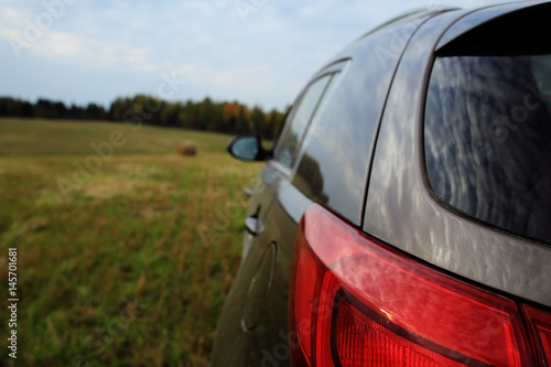 Car in the field forest sky Wallpaper Mural