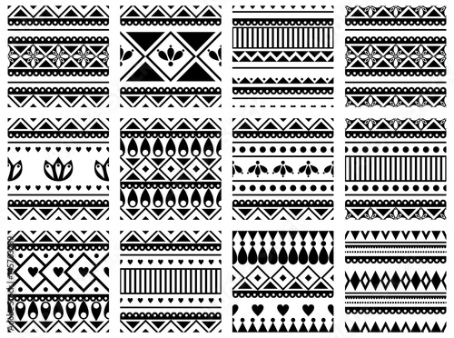 Set of seamless vector geometric black and white patterns with ornamental elements,endless background with ethnic motifs. Graphic vector illustration. Series- sets of vector seamless patterns.