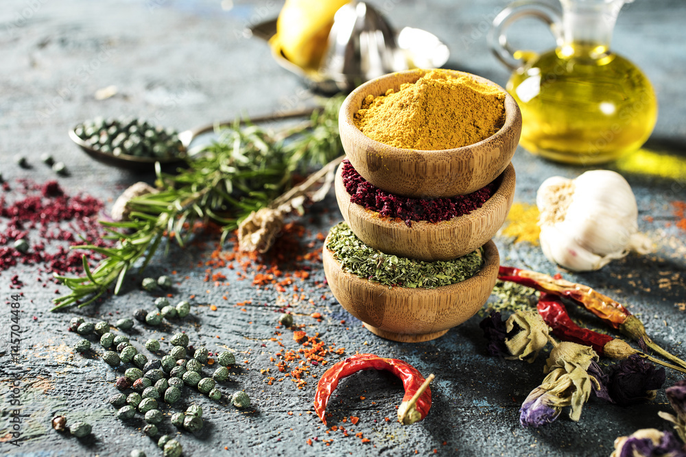 Fototapety, obrazy: Spices and herbs on wooden background
