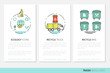 Garbage Waste Recycling Business Brochure Template with Linear Thin Line Vector Icons