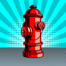 Fire Hydrant Pop Art Style Vector Illustration