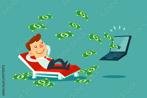 Fototapeta businessman relaxing on beach chair while money come out of his laptop screen obraz