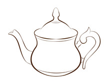 Illustration Of Teapot In Outl...