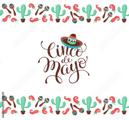 Cinco De Mayo Banner In Horizontal Stripe Composition Mexican