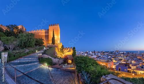 Panoramic view on city skyline and walls of Alcazaba fortress in Almeria, Andalusia, Spain