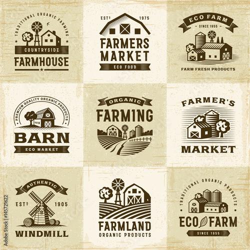 Obraz Vintage Organic Farming Labels Set - fototapety do salonu
