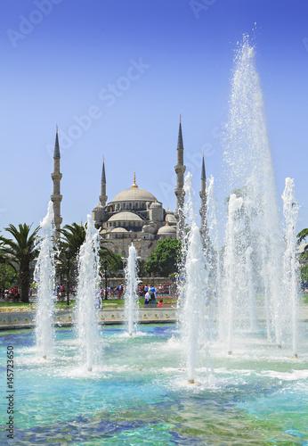 Plakat fontanna i meczet