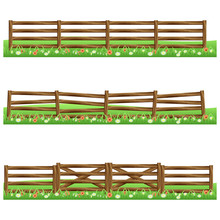 Set Of Farm Wooden Fences Isol...