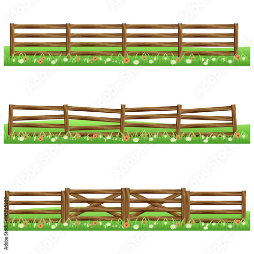 Set of farm wooden fences isolated on white background