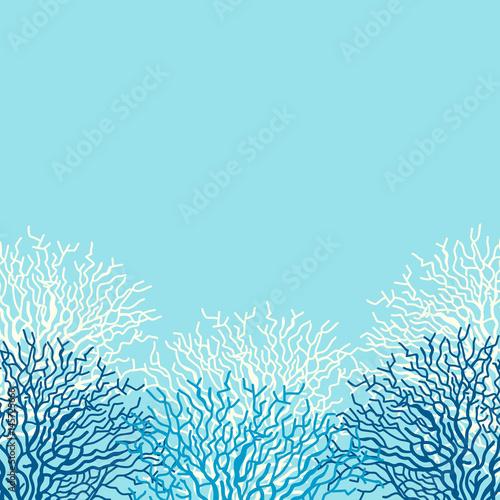 Fototapeta premium Tło wektor życia morskiego z korali