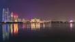 night light abu dhabi famous view point marina island downtown panorama 4k time lapse uae