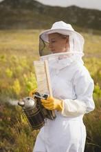 Beekeeper Holding Bee Smoker And Brush On Farm
