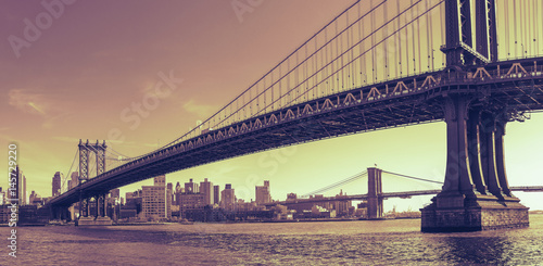 Canvas Prints Brooklyn Bridge Manhattan Bridge Panorama with Dramatic Toning