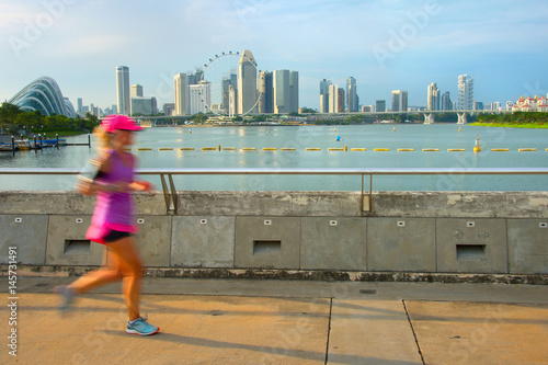 Photo  Jogging Singapore at sunset